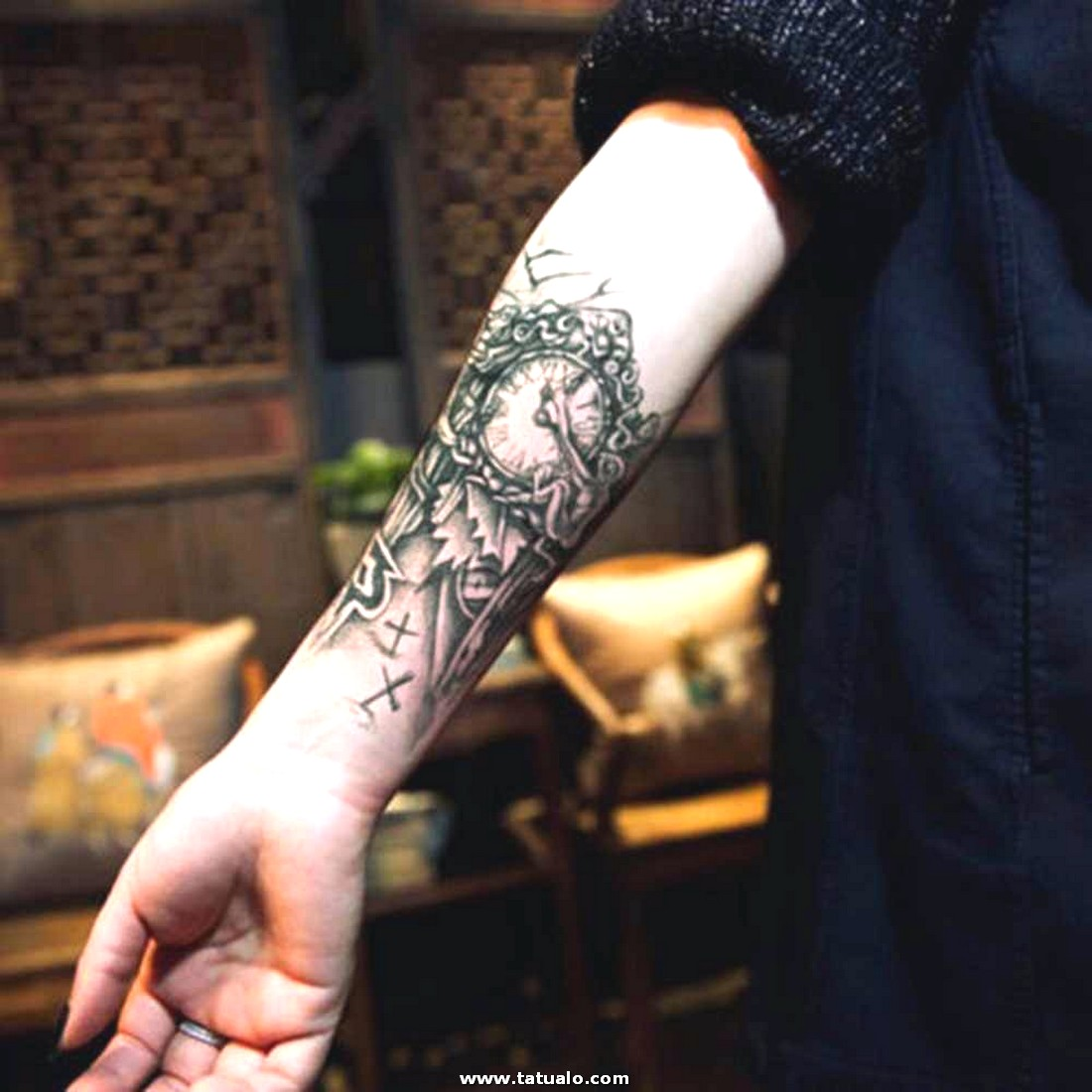 19 12 Cm Negro Reloj Tatuajes Para Hombres Mec Nico Grande Temporal Brazo Tatuaje Pegatina Mujeres.jpg Q50