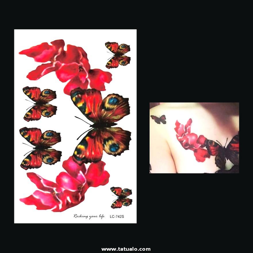 226000 1 Sabanas Flor Roja Mariposa Pecho Brazo Manga Tatuaje Lc 742s Impermeable Temporal Para Mujeres Cuerpo Tatuaje Papel Adhesivos