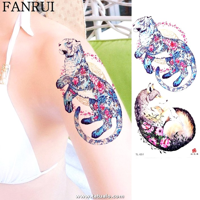 3D Watercolor Tiger Sexy Wolf Tattoo Stickers Girls Arm Chest Temporary Tattoo Women Body Art Waist.jpg 640x640