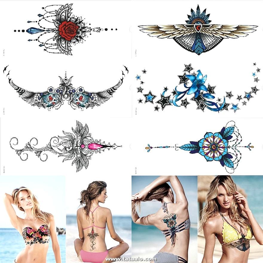 76387 Hermoso Diseno Impermeable Debajo Del Tatuaje Del Pecho Tatuaje Temporal Ornamental Del Metal Tatuaje Atractivo De Las Mujeres