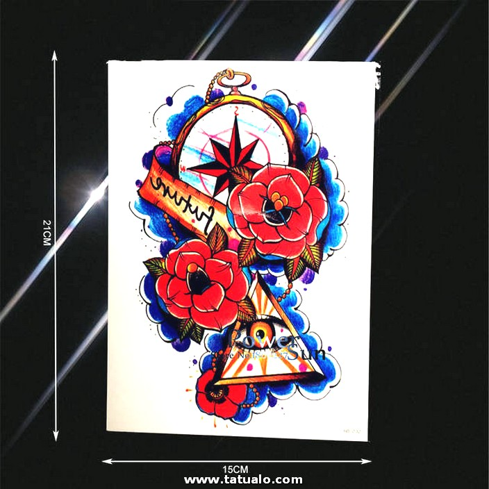 Flash Br Julas Reloj Ojo Malvado Tatuaje Para Hombres Mujeres Falso Flor Brazo Tatuajes Impermeable Cuerpo.jpg 640x640q70