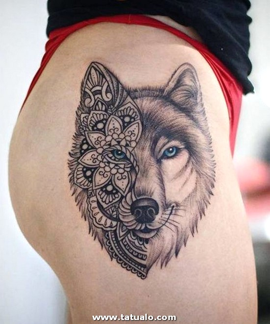Mandala Wolf Tattoo Designs For Women I Like The Placement