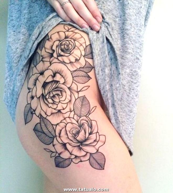 Tatuajes De Rosas En La Pierna 1