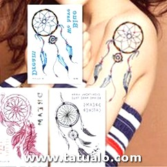 Watercolor Dream Catcher Temporary Tattoo Women Tribal Tattoo Sticker Black Dreamcatcher Fake Flash Tatoo Girl Body.jpg 220x220q90