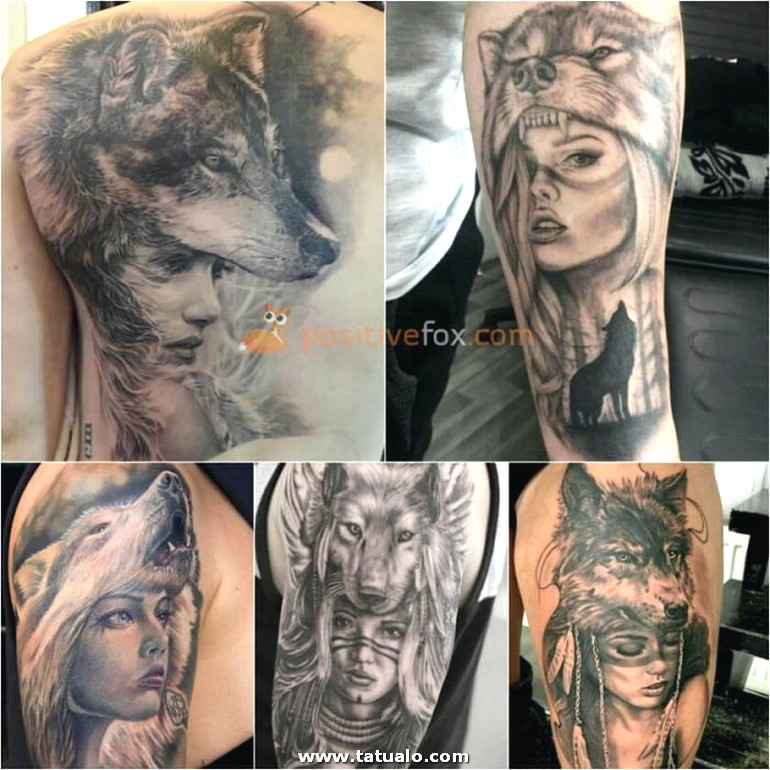 Wolf Tattoo. Wolf Tattoo Designs. Woman In Wolf Hide Tattoo 17.1
