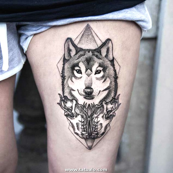 Women Showing Her Thigh Cover Up Awesome Wolf Face Dotwork Tattoo