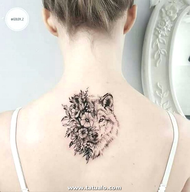 Women Wolf Tattoo Back Floral