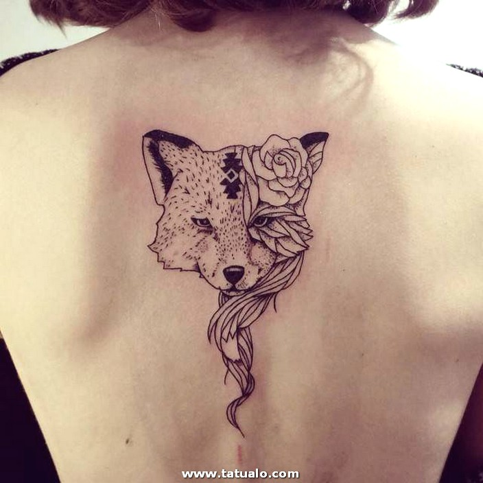 Women Wolf Tattoo Back