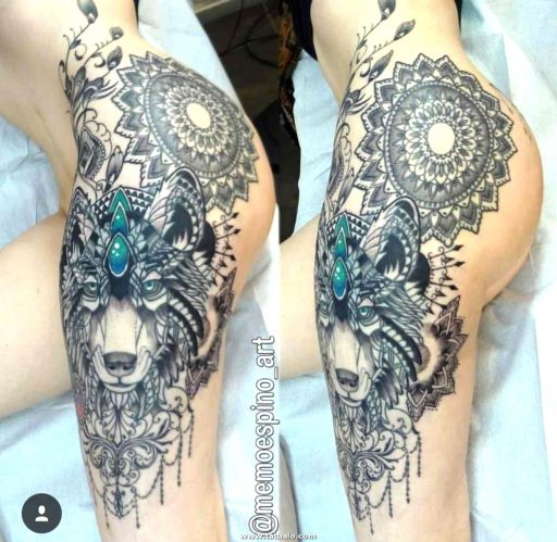 Women Wolf Tattoo Thigh Intricate
