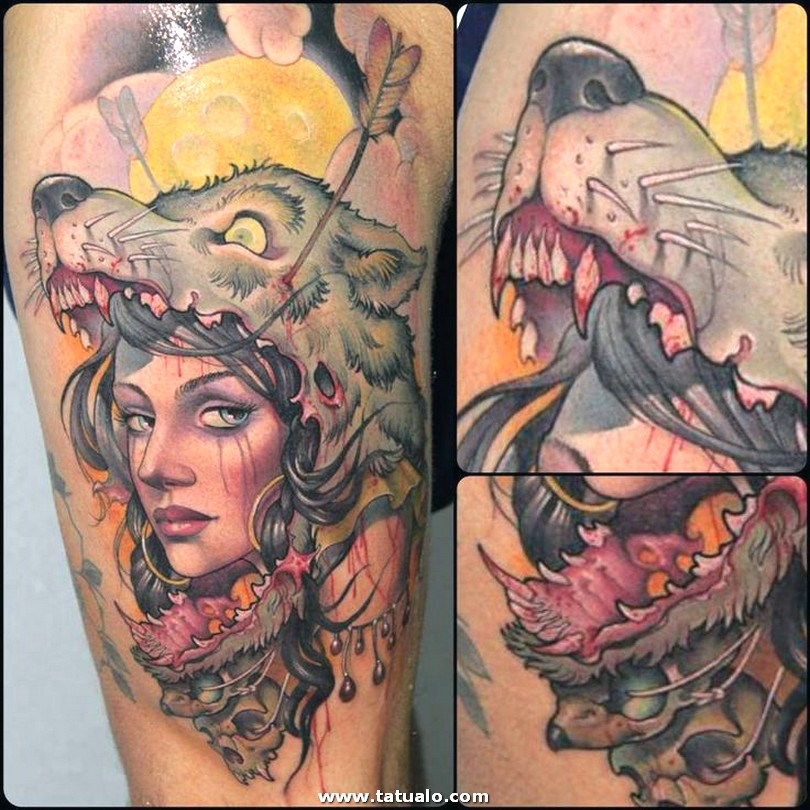 Women And Wolf Tattoo By Victor Chil