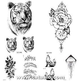Chains Black Floral Temporary Tattoo Women