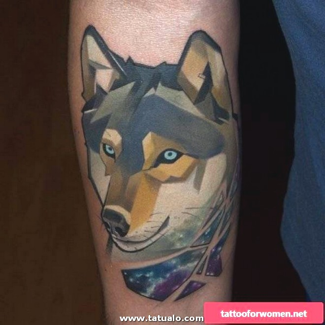 Colored Wolf Tattoo For Women