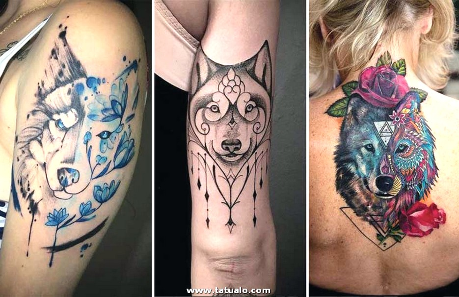 Girly Wolf Tattoo Ideas Designs Women Girls