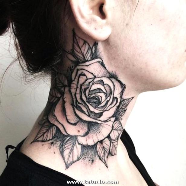 Rosas Tattooo En El Cuello Chicas