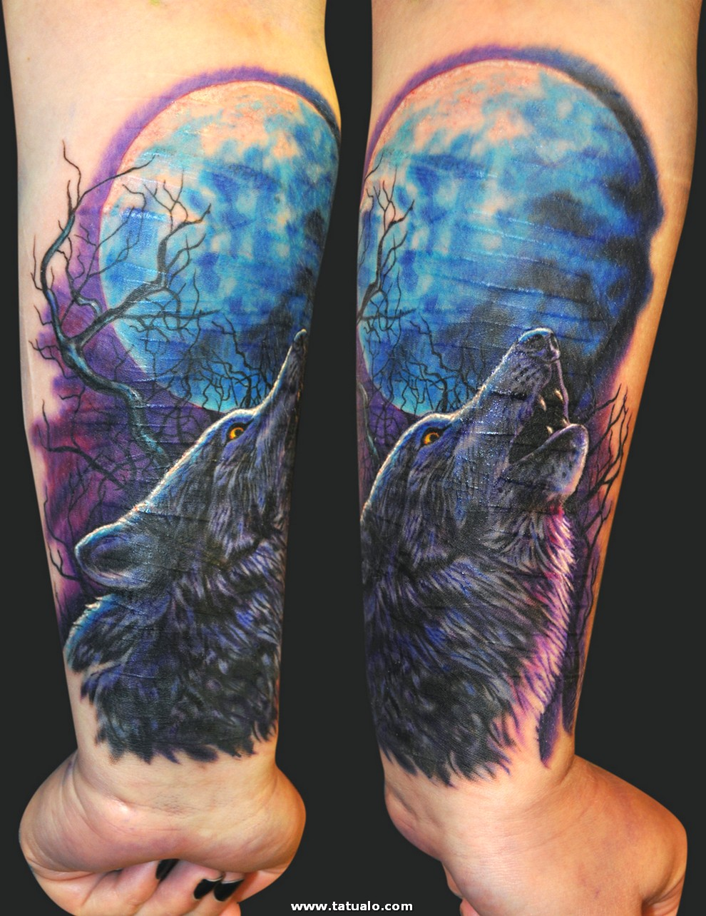 Small Chest Wolf Tattoos Women 3D