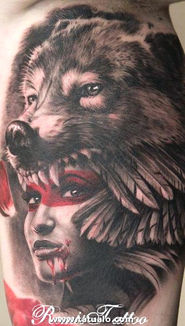 Tattoo Fantasy Women Wolf