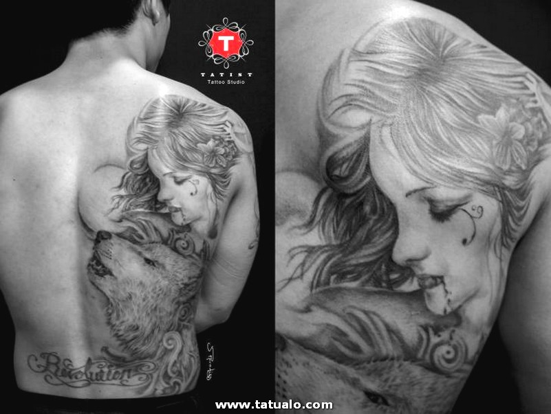 Tattoo Shoulder Back Woman Wolf