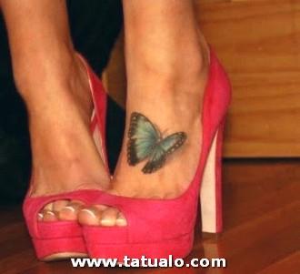 Tattoo Tatuaje Pie Mariposa Mujer