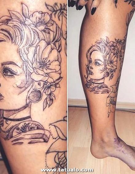 Tatuaje Cara Mujer En La Pierna 400x516