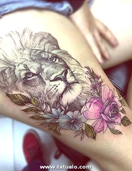 Tatuaje De Leon En La Pierna De Mujer 400x516
