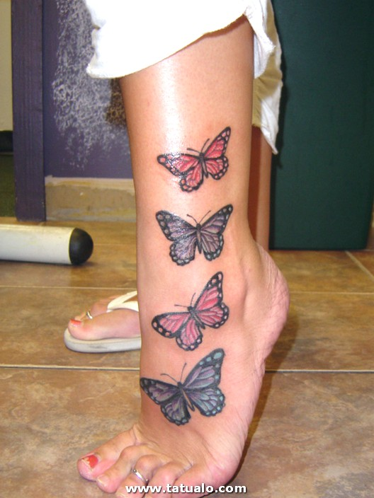 Tatuaje De Mariposas Pierna Mujer