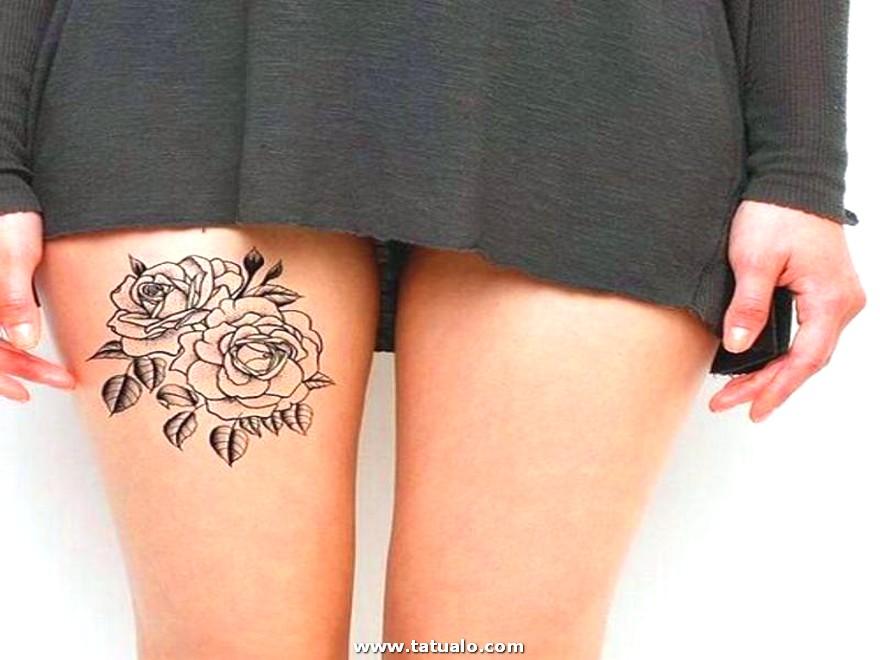 Tatuaje De Rosas Para La Pierna Mujeres