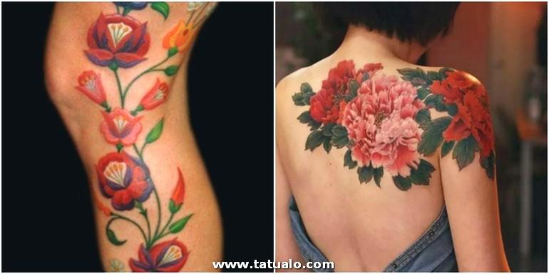 Tatuaje Espalda Ideas Tatuaje Flores Oldschool Rosado Rojo Espalda Hombro Mujer A Lo Largo De La Pierna E1515487525985