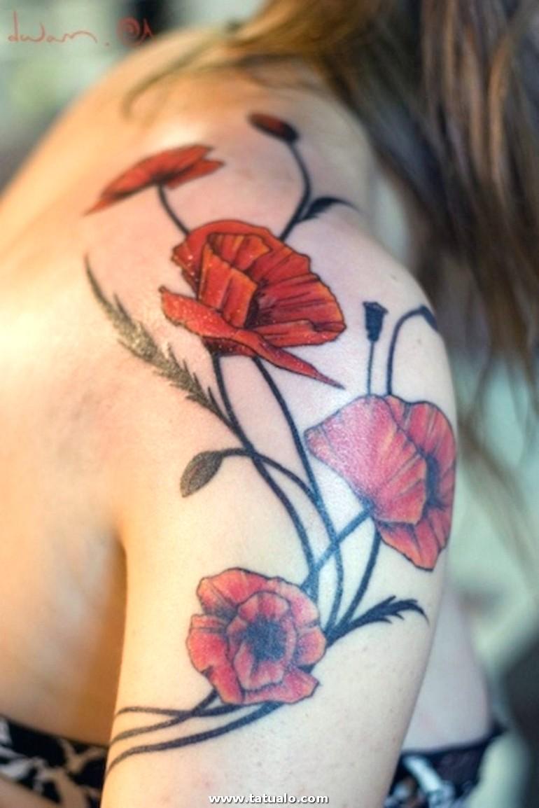 Tatuaje Espalda Mujer Tatuaje Grande Hombro Espalda Amapolas Rojas E1515490991472