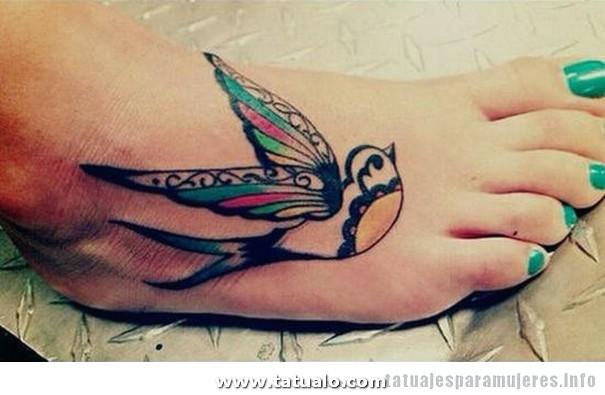 Tatuaje Pajaro Pie Para Mujeres Chicas