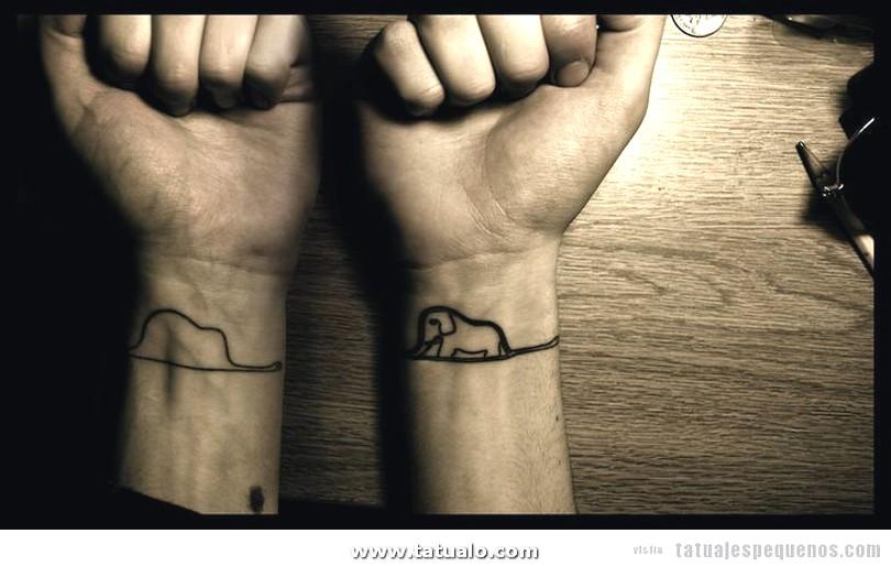 Tatuaje Pequeno Chico Hombre Sombrero Elefante Principito
