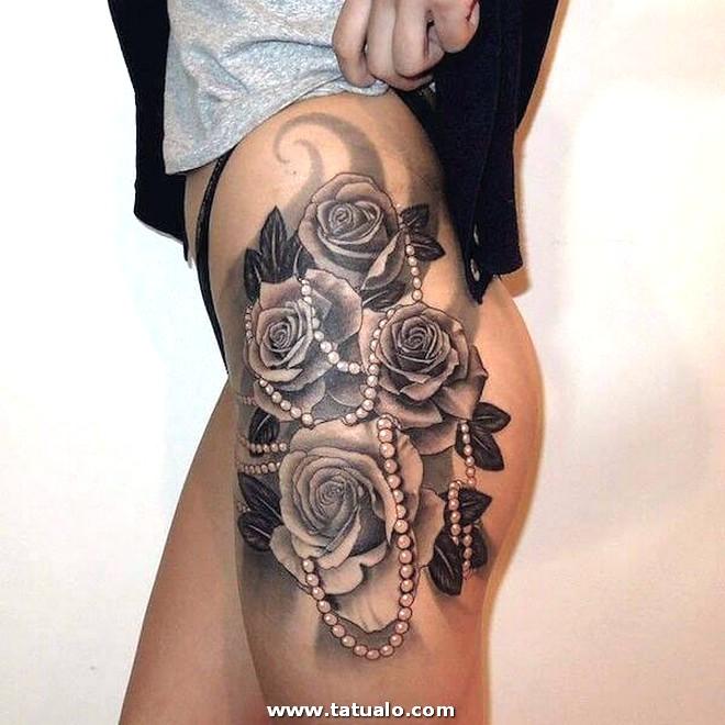 Tatuaje Rosas Con Perlas Muslo Mujeres