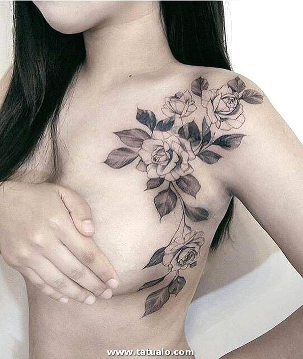 Tatuaje Rosas Pecho Hombro Mujeres