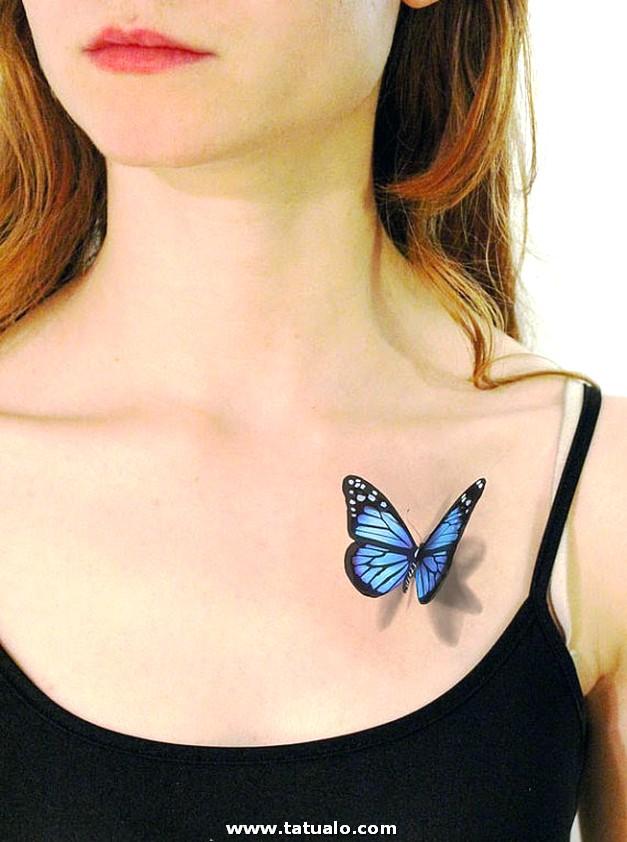 Tatuajes 3d De Mariposas En Pecho Para Mujeres