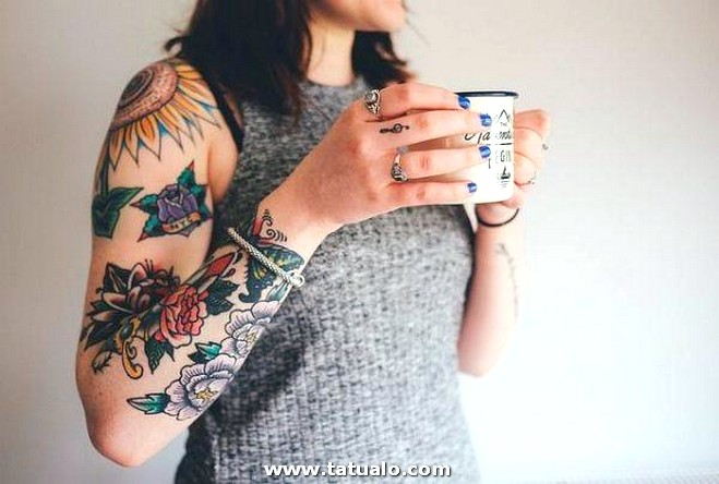 Tatuajes Brazo Mujer Flor 600x404