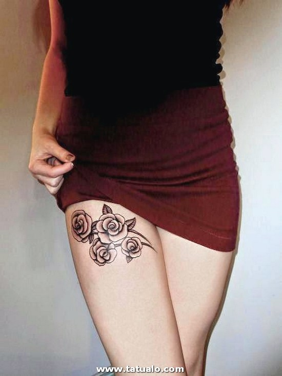 Tatuajes De Rosas En La Pierna Para Mujeres