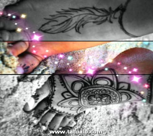 Tatuajes En El Pie De Mujer Con Mandala Y Plumas