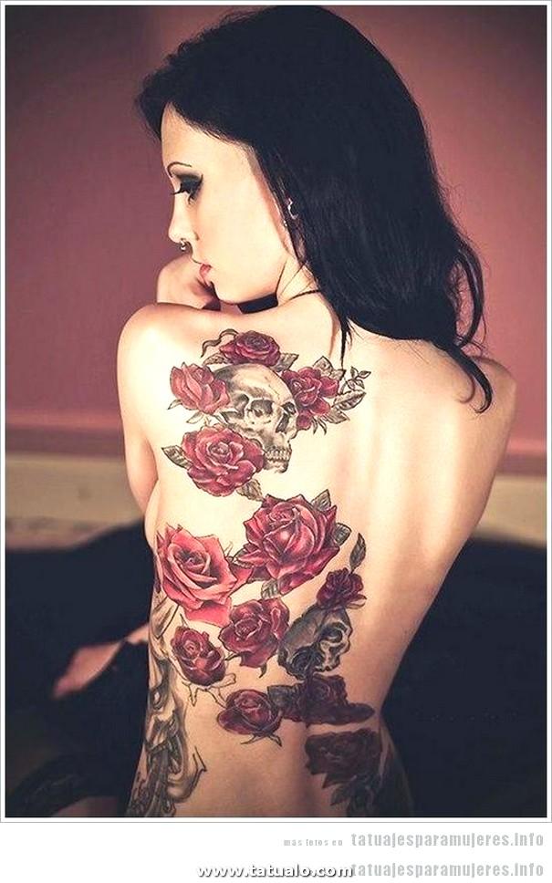 Tatuajes Mujeres Chica Espalda Rosas Calaveras