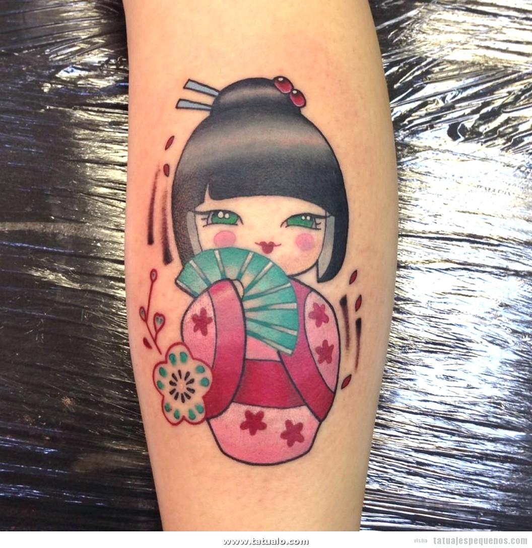 Tatuajes Pequenos Muneca Kokeshi Doll 8