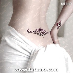 Temporary Tattoo Women Sexy Back Waist Abstract