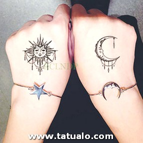 Waterproof Temporary Tattoo Sticker Sun Moon