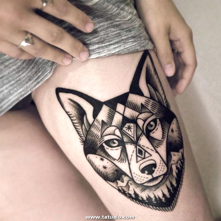 Wolf Tattoo Designs For Women 49