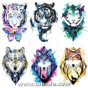 Wyuen Men Arm Sleeve Tattoo Sticker Wolf